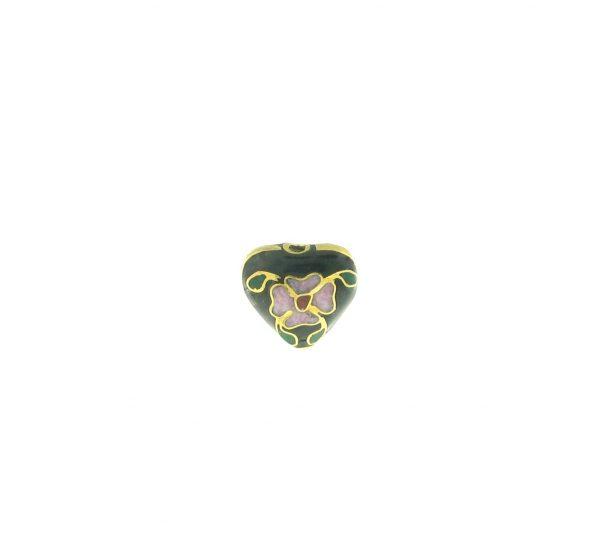 9084C - 10x11mm Cloisonne Heart Bead - Black