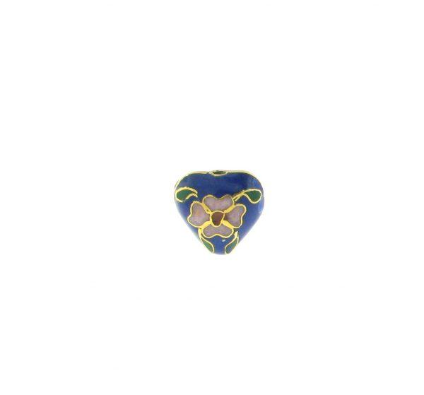 9084C - 10x11mm Cloisonne Heart Bead - Blue