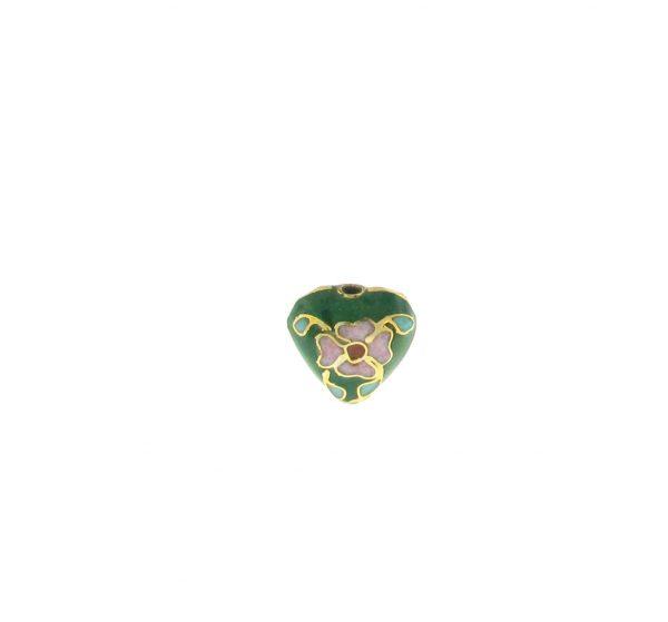 9084C - 10x11mm Cloisonne Heart Bead - Green