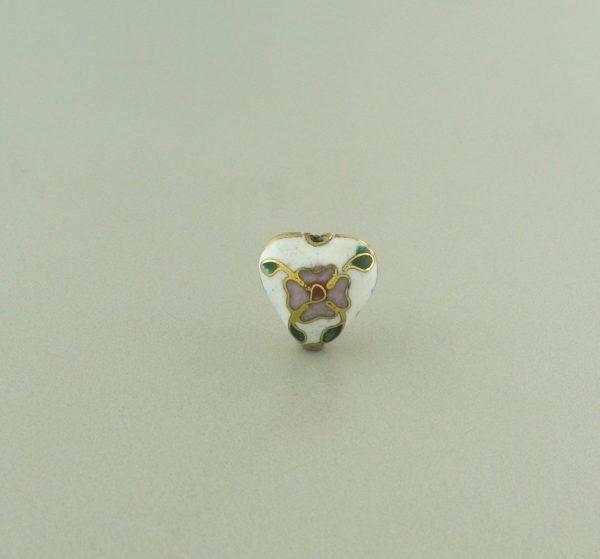 9084C - 10x11mm Cloisonne Heart Bead - White