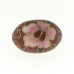 7918C - 18mm Oval Cloisonne Bead - Brown