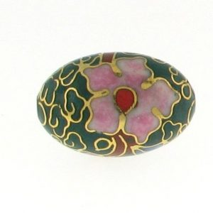 7918C - 18mm Oval Cloisonne Bead - Green