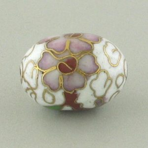 7918C - 18mm Oval Cloisonne Bead - White