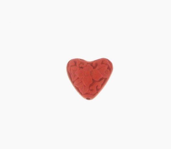 9063 - 15mm Cinnabar Heart - Red