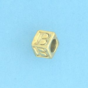 9800 - 5.5mm Gold Plated Alphabet Beads B