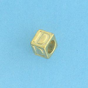9800 - 5.5mm Gold Plated Alphabet Beads D
