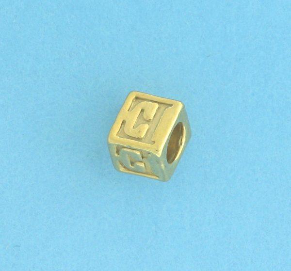 9800 - 5.5mm Gold Plated Alphabet Beads E
