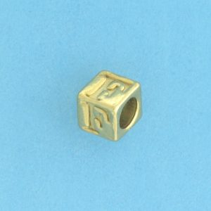 9800 - 5.5mm Gold Plated Alphabet Beads F