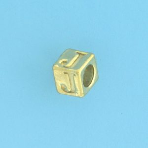 9800 - 5.5mm Gold Plated Alphabet Beads J