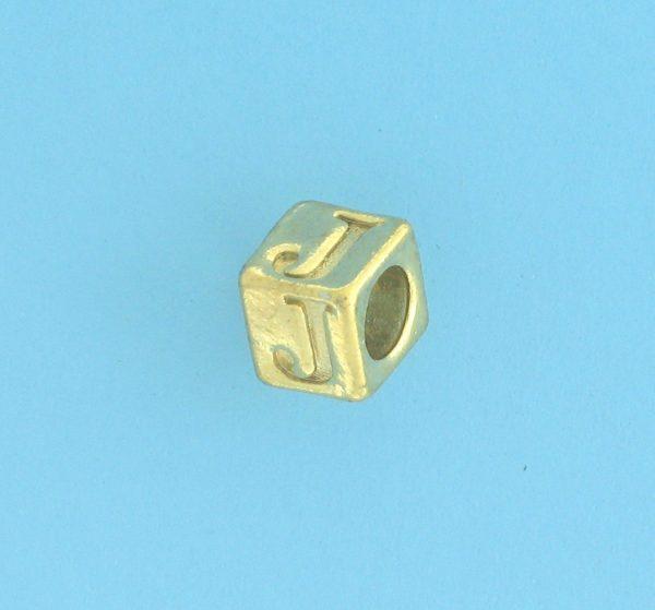 9800 - 5.5mm Gold Plated Alphabet Beads J
