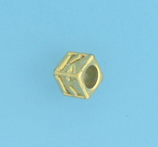 9800 - 5.5mm Gold Plated Alphabet Beads K