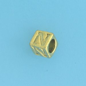 9800 - 5.5mm Gold Plated Alphabet Beads N