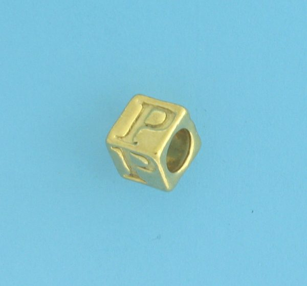 9800 - 5.5mm Gold Plated Alphabet Beads P