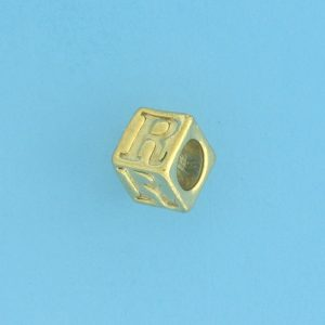 9800 - 5.5mm Gold Plated Alphabet Beads R
