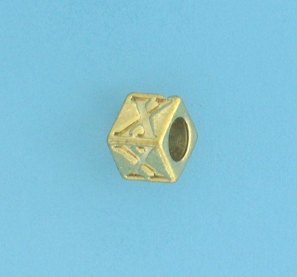 9800 - 5.5mm Gold Plated Alphabet Beads X