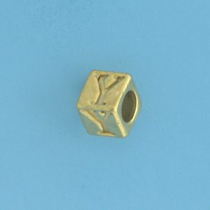 9800 - 5.5mm Gold Plated Alphabet Beads Y