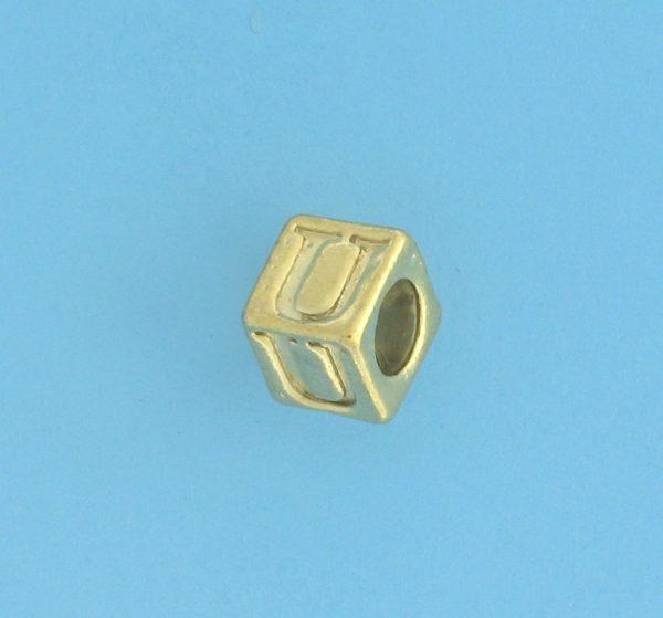 9800 - 5.5mm Gold Plated Alphabet Beads U