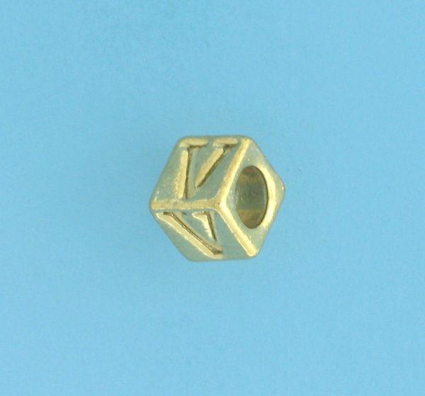9800 - 5.5mm Gold Plated Alphabet Beads V