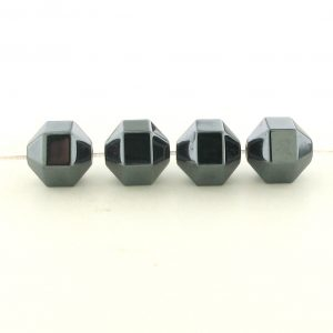 9208 - 8mm Hexagon Shape Hematite Beads - 16'' Strand