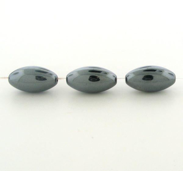 9213 - 8x16mm Oval Shape Hematite Beads - 16'' Strand