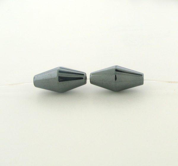 9223 - 8x16mm Fancy Oval Shape Hematite Beads - 16'' Strand