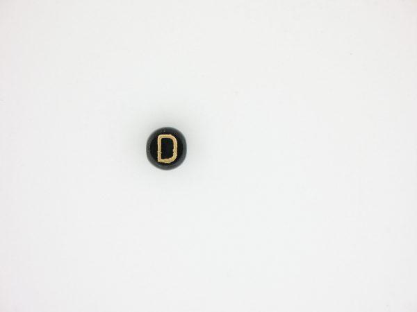 9011GB - 6mm Gold and Black Alphabet - D