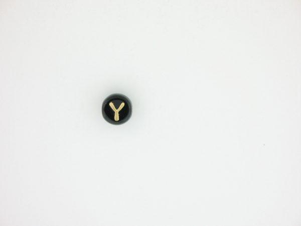 9011GB - 6mm Gold and Black Alphabet - Y