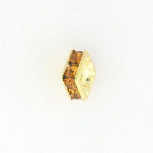 9852 - 6mm Rhinestone Squaredelle Gold Plated - Topaz
