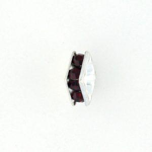 9852S - 6mm Rhinestone Squaredelle Silver Plated - Siam