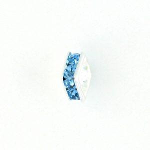 9852S - 6mm Rhinestone Squaredelle Silver Plated - Aquamarine