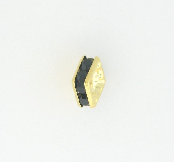 9853 - 8mm Rhinestone Squaredelle Gold Plated - Jet