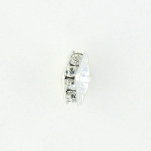 9853S - 8mm Rhinestone Squaredelle Silver Plated - Crystal (6pcs.)