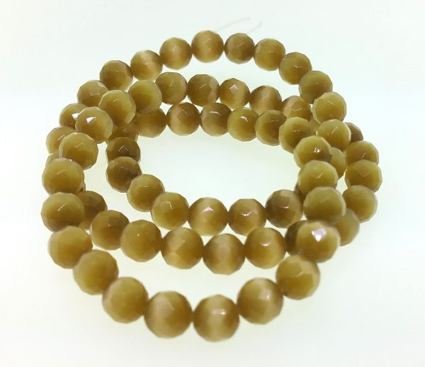 9501 - 4mm Round Faceted Cat's Eye - Smoke Topaz