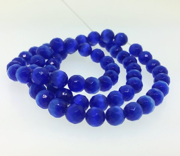"""9501 - 4mm Round Faceted Cat's Eye (16"""" Strand) - Sapphire"""