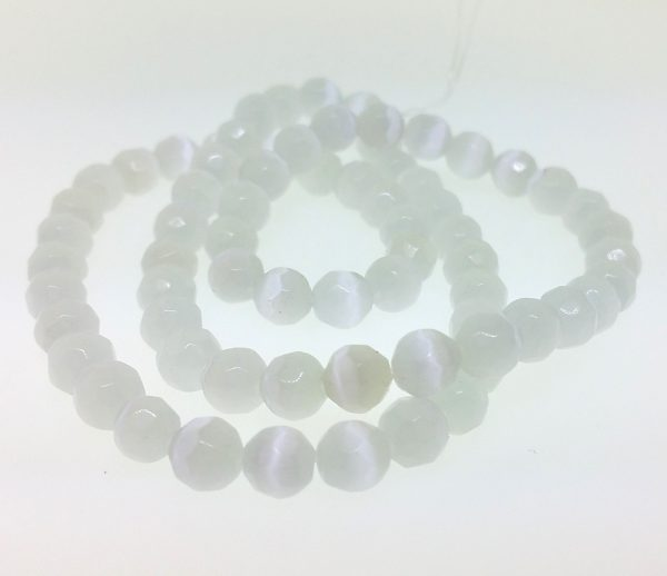 9502 - 6mm Round Faceted Cat's Eye - White