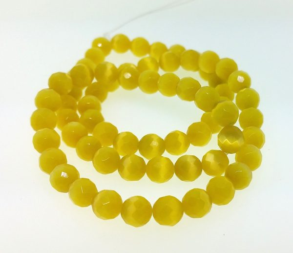 9502 - 6mm Round Faceted Cat's Eye - Yellow