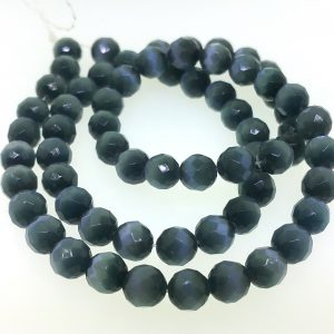 9502 - 6mm Round Faceted Cat's Eye - Black