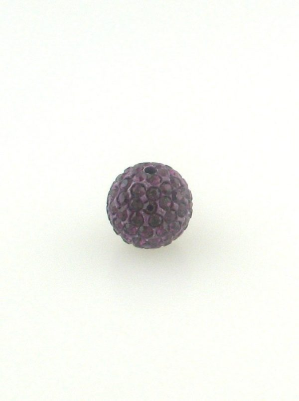 4208 - 8mm Round Shamballa Bead - Amethyst