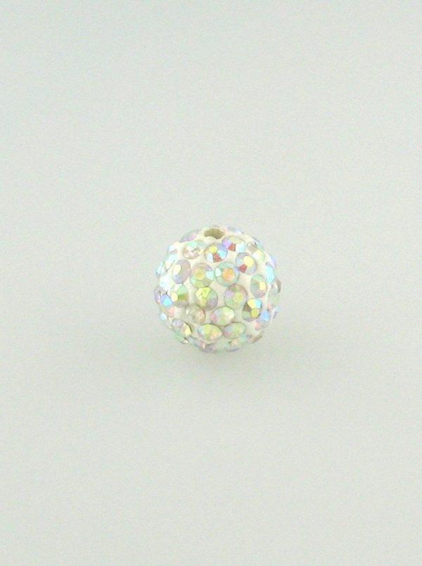 4208 - 8mm Round Shamballa Bead - Crystal AB