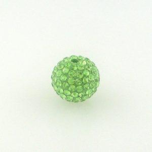4210 - 10mm Round Shamballa Bead - Peridot