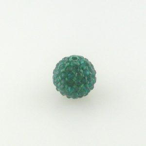 4212 - 12mm Round Shamballa Bead - Emerald