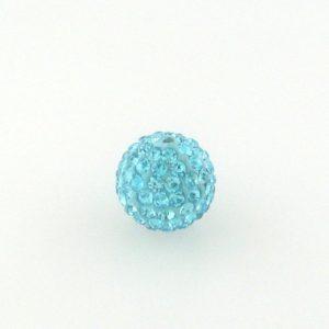 4214 - 14mm Round Shamballa Bead - Aquamarine