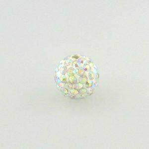 4214 - 14mm Round Shamballa Bead - Crystal AB