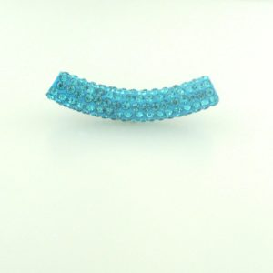 4220 - 9x50mm Shamballa Pave Tube - Aquamarine