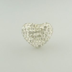 4222 -15x20mm Shamballa Heart - Crystal