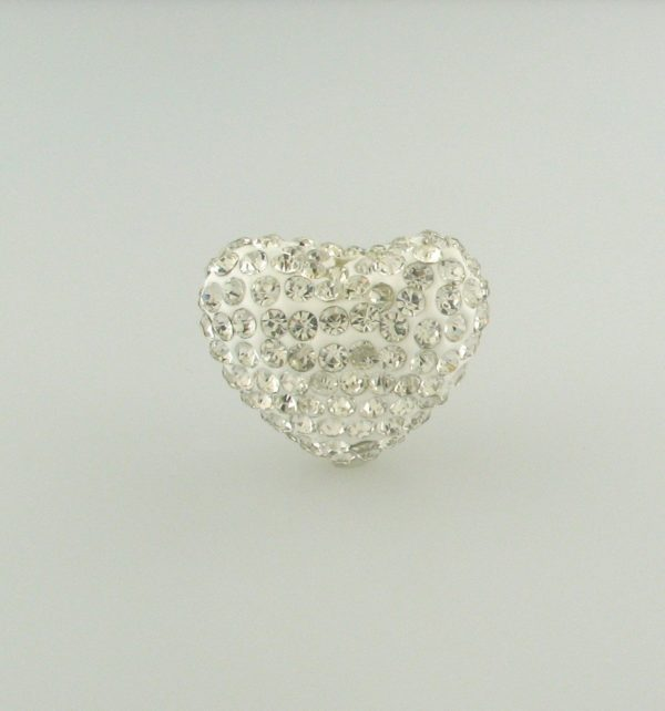 4222 -15x20mm Shamballa Heart - Crystal