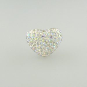 4222 - 15x20mm Shamballa Heart - Crystal AB
