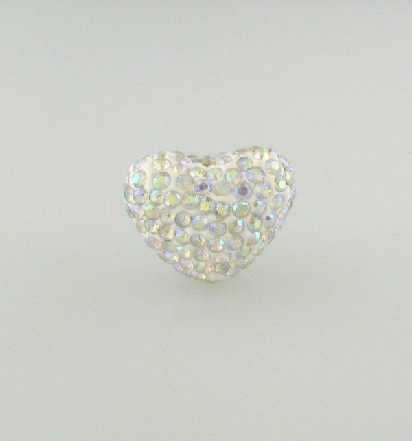 4222 - 15x20mm Shamballa Heart - Crystal AB