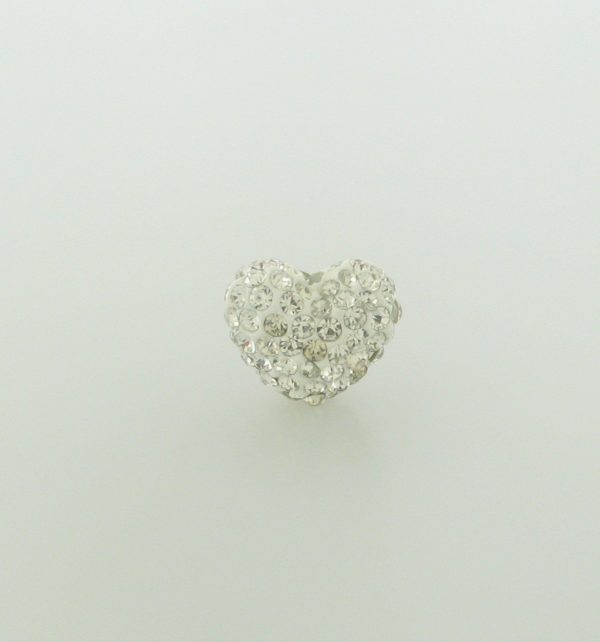 4221 - 12x15mm Shamballa Heart - Crystal