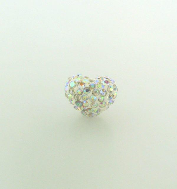 4221 - 12x15mm Shamballa Heart - Crystal AB